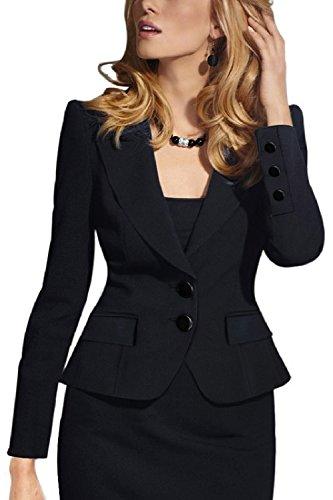 Zwei-knopf-anzug (Frauen Elegante Zwei - Knopf Anzüge Tops Outwear Jacken Blazer Mantel Black M)