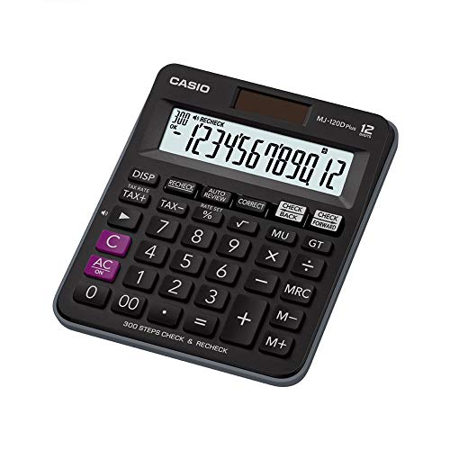Casio MJ-120D Plus - BK 300 Steps Check and Correct Desktop Calculator with Tax & GT Keys & On Display Indication of Active Constant (K) (Black)