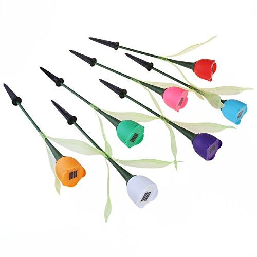 VORCOOL 7pcs im Freien solarbetriebene Tulpe-Blumen-LED-Licht-Yard-Garten-Weg-Landschaftslampe Neu (Landschaft-garten-weg-licht)