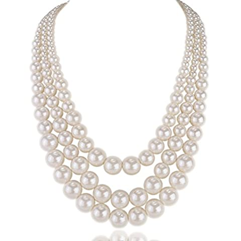 Kalse Resin White Simulated Pearl Multiple Strand 3 Layer Women Evening Choker Necklace