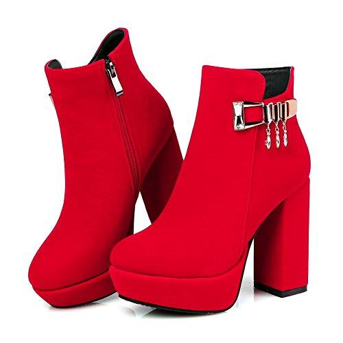 AllhqFashion Damen Rund Zehe Rein Hoher Absatz Stiefel mit Beschlagene Strass Rot
