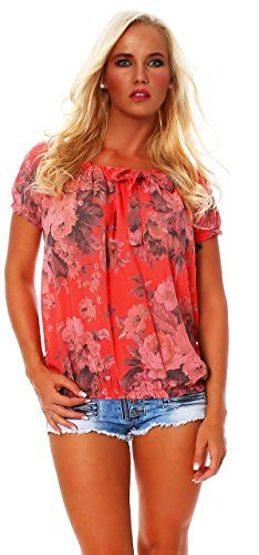 ZARMEXX Damen Bluse Oberteil Shirt Blumenmuster Carmenbluse Kurzarmshirt Viskose *BIG ROSE*, One Size Gr.36-40, Lachs