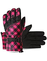 AOTU Winter Ski gloves, Women's Thermal Warm Outdoor Gloves for Ski,Running, Hiking, Waterproof and Windproof Sports Gloves (Red)