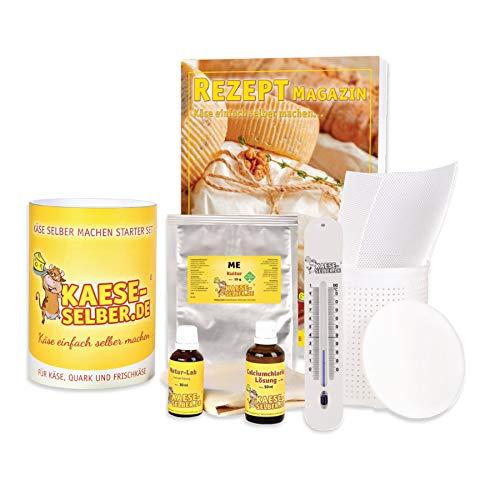 Käse selber machen - Starter Set inkl. Rezeptmappe und Videoanleitungen (für Käse, Quark und Frischkäse); Traditionelle Käseherstellung