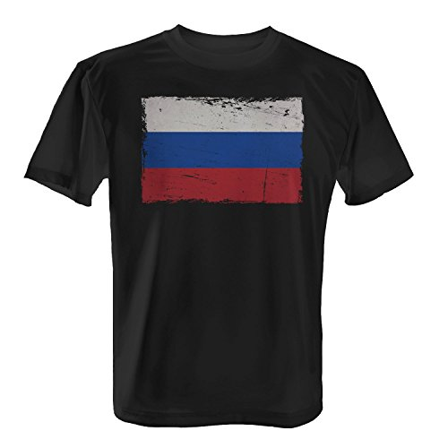 Russland Flagge - Herren T-Shirt von Fashionalarm | Fun Shirt Fahne Banner Vintage Grunge Statement Putin Fan Schwarz