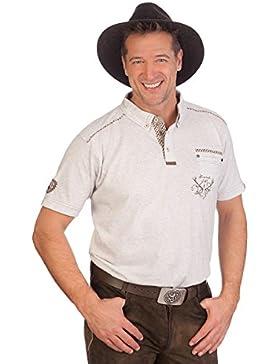 Trachten Herren Shirt - BERNRIED - anthrazit, hellgrau