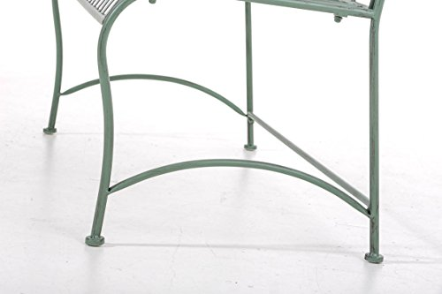 CLP Gartenbank DIVAN im Landhausstil, aus lackiertem Eisen, 106 x 51 cm – aus bis zu 6 Farben wählen Antik Grün - 9