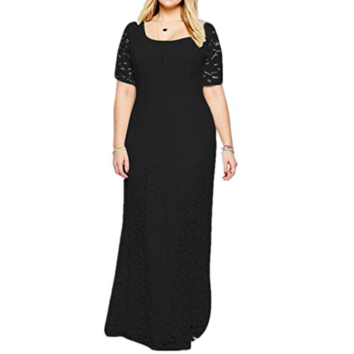 Janlyy Women's Full Lace Maxi Dress Plus Size Formal Party Evening Prom Wedding Short Sleeve Long Dresses Black White Wine-Red Size UK 14-30 (UK 24/Tag 6XL, Black)