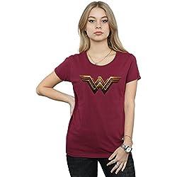 DC Comics Mujer Justice League Movie Wonder Woman Emblem Camiseta Medium borgoña