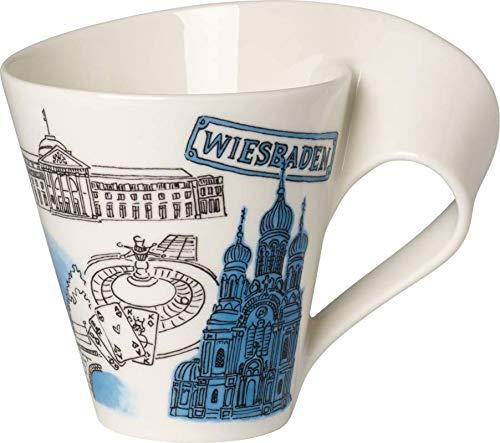 Villeroy & Boch Cities of the World Kaffeebecher Wiesbaden, 300 ml, Premium Porzellan, Weiß/Bunt