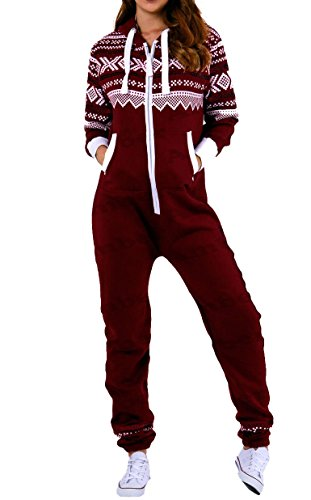 Amberclothing Damen Jumpsuit, Aztekisch X-Large Gr. Medium, Rot - Weinfarben