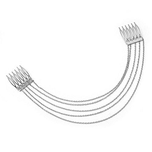 ODN Frauen Hairbands Punk Hair Cuff Pin Clip Quasten Ketten Kopfband Schmuck Styling Silber Headwear