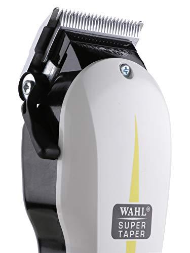 Wahl Super Taper - Maquina cortapelos, cuchillas cromadas, con accesorios, corriente alterna, blanco