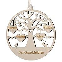 Alphabet barn Grandchildren Grandparent Family Tree Wood Decoration Engraved Gift Plaque 12.5cm (4 names/hearts)