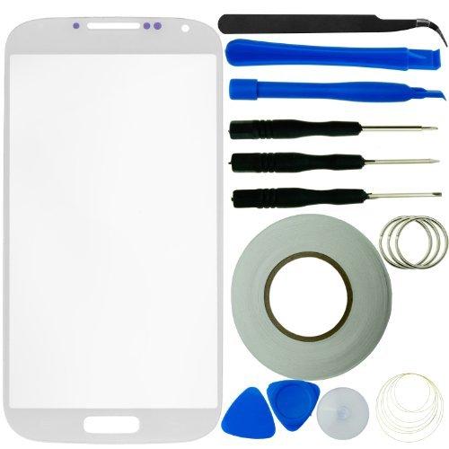 Samsung Galaxy S4 -Bildschirm Ersatz- Kit bestehend aus 1 Replacement Screen-Glas für Samsung Galaxy i9500 S4 / 1 Pinzette / 1 Rolle Klebeband von 2 mm / 1 Werkzeugsatz / 1 ECO-FUSED Mikrofaser Reinigungstuch (weiß)