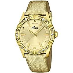 Lotus Reloj de Cuarzo para Mujer con Correa de Piel de Oro Esfera analógica Pantalla y Dorado 15982/2