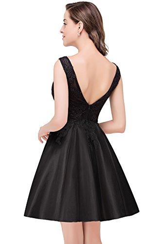 MisShow Damen Abendkleider Kurz Hinten-V-Rückenfrei Taft Kurz Partykleider Ballkleid Abendkleid Gr.32-46 Schwarz