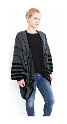 Oversize Strick Cardigan Poncho vorne offen Strickjacke Cape fly away anthrazit grau schwarz gestreift Einheitsgröße S M L XL 38 40 42 44 (8340) (Fly Away Strickjacke)