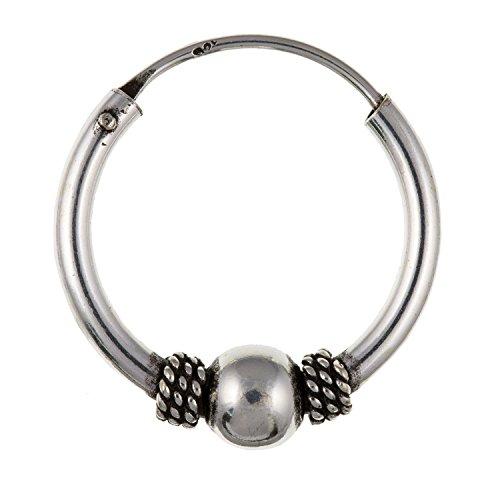 Herren Gypsy/Bali-Stil Perlen Einzel Hoop Ohrringe-925Sterling Silber-Lieferung erfolgt in Geschenkbox oder Geschenkbeutel (Designer-inspirierte Ohrringe)