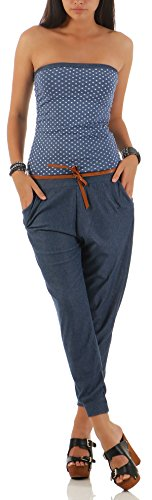 Malito Damen Einteiler mit Punkten | Overall im Jeans Look | Jumpsuit mit Gürtel | Hosenanzug - Playsuit 9651 (Jeansblau)