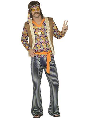 Luxuspiraten - Herren Männer 60er Jahre Hippie Woodstock Sänger Kostüm mit Oberteil, Weste, Hose, Gürtel und Haarband, perfekt für Karneval, Fasching und Fastnacht, XL, Mehrfarbig