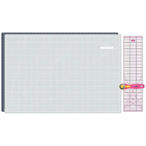 SEMPLIX Schneidematten Set - Schneideunterlage 90 x 60 cm (A1), Rollschneider Maxi 45 mm, Patchwork Lineal 60x15 cm (grau/pink)