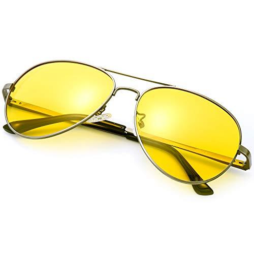 Sodqw occhiali antiriflesso polarizzati visione notturni guida, protettivi uv400 con occhiali giallo lenti per donna e uomo (cornice pistola lente gialla)