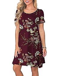c1a48691f2ad T-Shirt Lunga da Donna Sexy Camicetta Casual Vestito Elegante Lungo Estate  Vestiti Semplice Abito Camicia di Base Vestito A Manica Lunga…