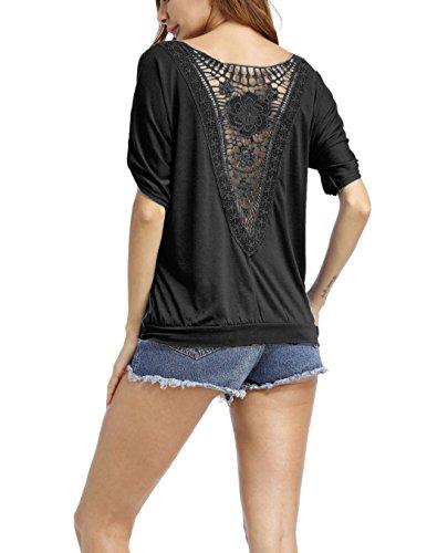 T-shirt Femme Chemisier Epaule Dénudée Top à manches courtes Blouse Col Rond Fleurs en Dentelle Noir