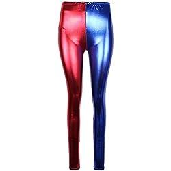 Generic - Pantalón - para mujer azul Blue/Red Leggings 38