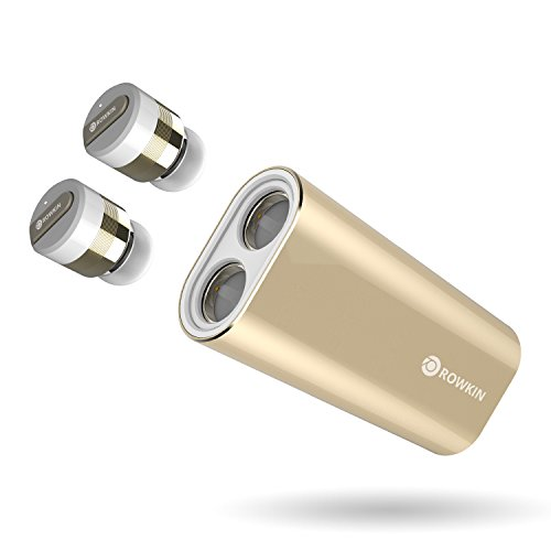 Rowkin Bit Charge Stereo: Drahtloser Kopfhörer mit tragbarem Ladegerät. Bluetooth Earbuds, kleinste schnurlose Hands-freie Mini-Kopfhörer Headset mit Mic & Noise Reduction für Laufen und iPhone. (24K Gold-plated Edition) (Befehl Mic)