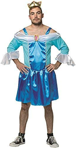 Fancy Me Sexy Herren Prinzessin Neuheit Drag Junggesellenabschied Abend Party Lustig Komödie Peinlich Kostüm Kleid Outfit - Blau, One Size (Sexy Lustige Kostüm)