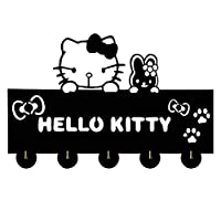RAABY Hello Kitty Cat Silhouette Wooden Hanger Christmas Unique Gift Clothes Hat Key Hook/Coat Rack/Wall Hook Modern Home Decoration Wall Stickers Kitchen Bathroom Towel Hook,Black