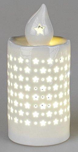kokerze Porzellankerze mit LED Beleuchtung und Timer aus Porzellan, weiß, 15 cm ()
