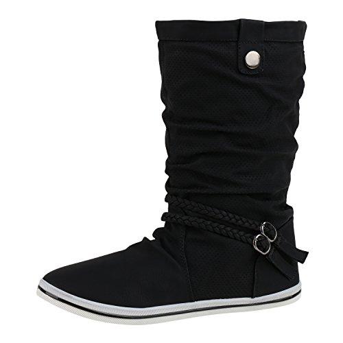 Sportliche Damen Stiefeletten Stiefel Flache Boots High & Low Top Damen STIEFELETTEN SCHWARZ 37