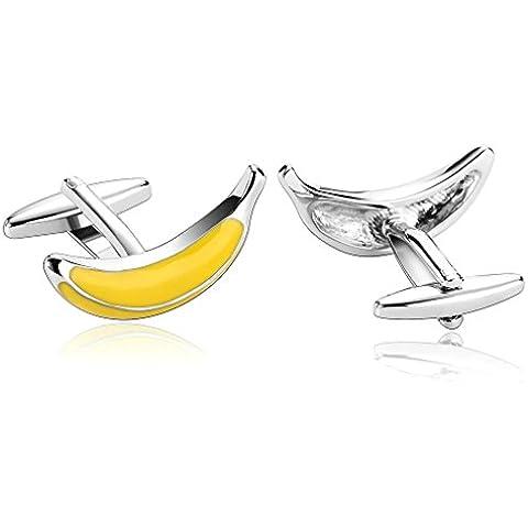 AnaZoz Joyería de Moda 1 Par Gemelos de Hombre Acero Inoxidable Forma 3D Bananas Color Amarillo Gemelos Para Hombre