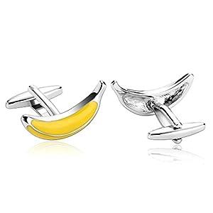 AnazoZ Schmuck Edelstahl Herren Manschettenknöpfe 3D Bananen Obst Gelb, Manschetten Knöpfe für Männer
