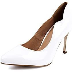 AgeeMi Shoes Damen Stiletto High Heels Pumps Spitz Wildleder Schuhe Pumps,EuD40 Weiß 39