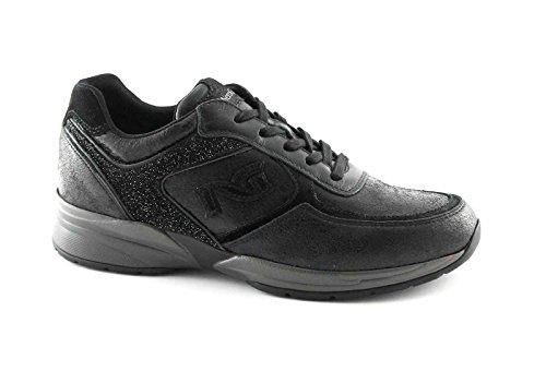 NERO GIARDINI 16031 nero scarpe donna sportive lacci sneaker casual zeppetta Nero