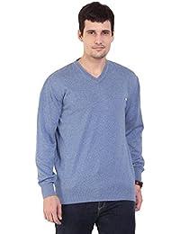 TAB91 Men's Cotton Rich Blue Solid V Neck Pullover