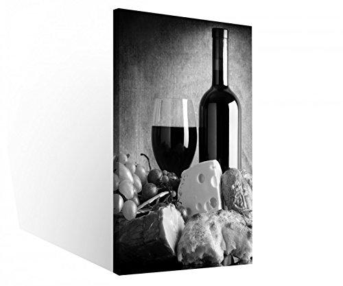 Leinwand 1 Tlg Stillleben Essen Wein Traube schwarz weiß Küche Brot Leinwandbilder Bilder Holz fertig gerahmt 9R729, 1 Tlg BxH:30x60cm (Bilder Trauben Und Wein)