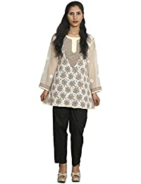 Panache Women's Georgette Chikan Short Top with Cotton Chikan Pant (F/JST/00003_Brown_42)