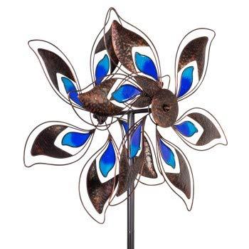 CIM Windrad XL- Kinetic Spinner Pacific - Windspiel Abmessung: Ø 57 cm x 180cm - inklusive sicherem und stabilem Gabelfuß | Garten > Dekoration > Windräder | Messing - Glas - Massiver | CIM