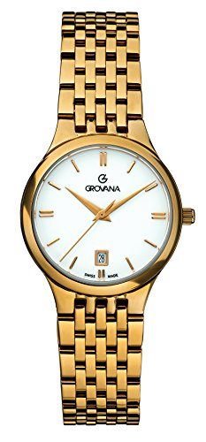 GROVANA 5013.1113 Women's Quartz Swiss Watch with White Dial Analogue Display and Gold Plated Stainless Steel Bracelet