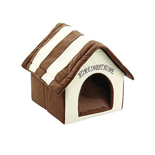 FIRSS-Haustier Haus Hund Katze Bett Weiches Plüsch Hundehöhle Kuschelhöhle Hundehaus Katzenhaus Hundezimmer Sofa Zwinger Decken Nest (38x39.5x45cm, Mehrfarbig)