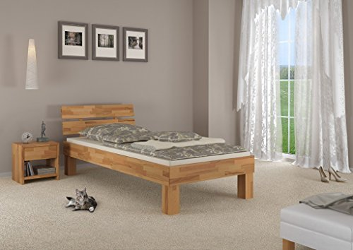 Erst-Holz® Massivholzbett Buche Natur Einzelbett 100×200 Bettgestell ohne Zubehör 60.86-10 oR