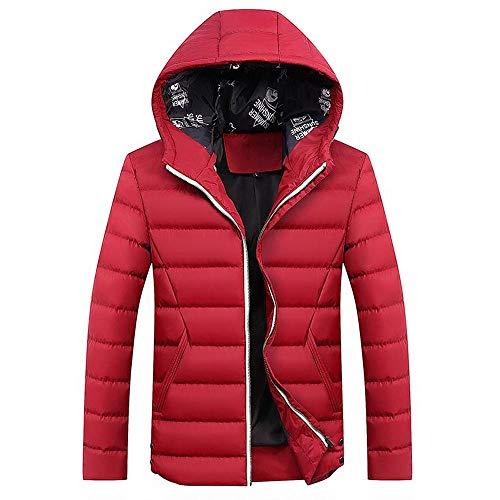 Xmiral Herren Jacke Mantel Winter Reißverschluss verdickt Reine Farbe Kapuze Outwear (M,Rot1)