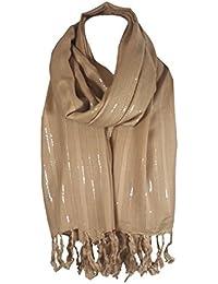 057063752fd4 World of Shawls monde de châles paillette Rayure pashmina châle écharpe  étole enveloppant ...