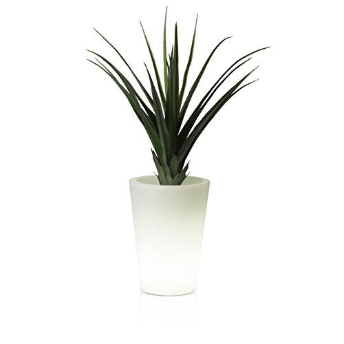 Pflanzkübel Blumenkübel CONO LUZ 50 Kunststoff, 37x37x50 cm, Gartenleuchte, Blumentopf, Design Leuchte, LED weiß (Led Decora)