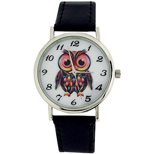 Time Collection anal. Damenuhr Eulenbild Zifferblatt schw. PU Armband CB008A